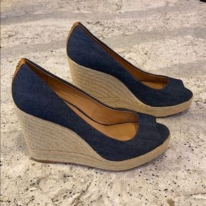 Coach navy wedges size 9